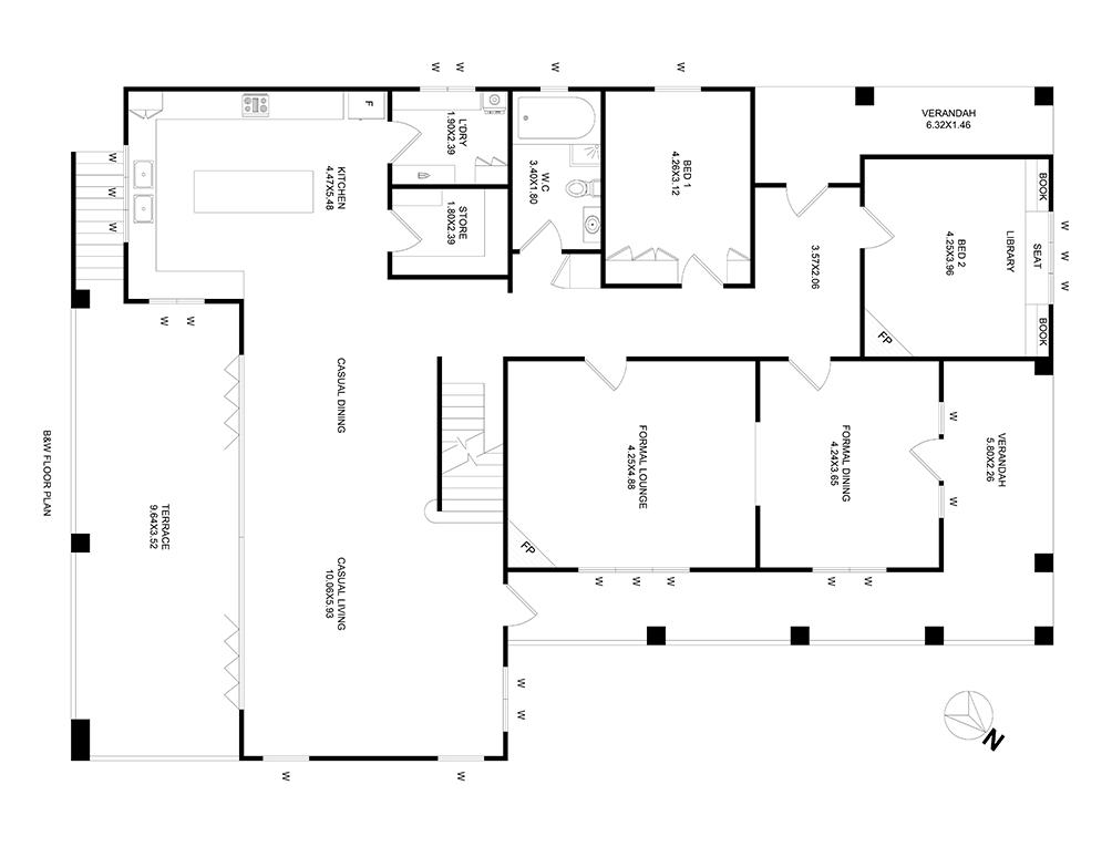 After-Black and White Floor Plan